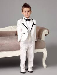2017 four pieces white wedding ring bearer suits trend boys tuxedo
