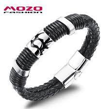 stainless steel buckle bracelet images Mozo fashion hot brand vintage jewelry men 39 s bracelets black jpg