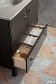 bathroom towel organization in the kohler jacquard tailored vanity