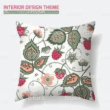 raspberry pattern throw pillow design template stock vector art