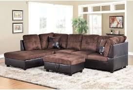 f107a u2013 dark brown microfiber u0026 faux leather sectional set with