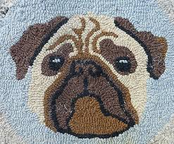 Hand Hooked Rug Kits Vintage Pug Dog Puppy Adorable Hand Hooked Rug Distressed 18 X 22