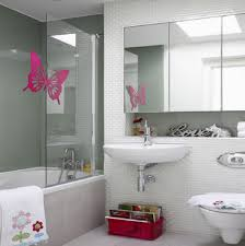 adorable bathroom decorating ideas with perfect storage and cute bathroom decorating ideas with butterfly sticker shower frame and subway tile the wall