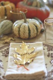 Gold Table Setting by Thanksgiving Table Ideas Gold Leaf Place Cards Wenderly