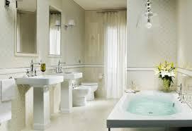 Round Bathtub Bathroom Traditional White Tile Wall Bathroom With Two White