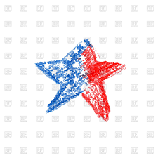 crayon drawing of star in colours of usa flag royalty free vector