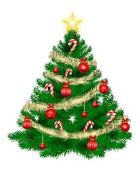 christmas tree with christmas ornaments and star png clipart