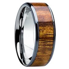 koa wedding bands 8mm tungsten carbide with 6mm hawaiian koa wood inlay k121m