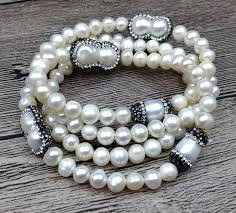 beads knots necklace images Ya2492 natural fresh water pearl pave crystal beads knot handmade jpg