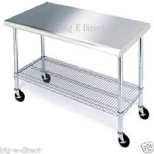 Rolling Kitchen Table Cart Stainless Steel Cutting Top Workbench - Stainless steel kitchen table top