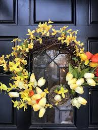 whimsical spring forsythia wreath jenna burger spring wreath front door wreath forsythia wreath easter wreath