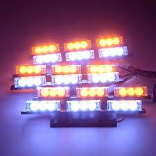 snow plow strobe lights 18x 3 led ultra bright white amber emergency windshield warning