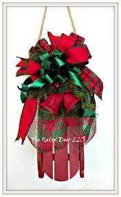 christmas wreath christmas sled jingle bell sled door hanger