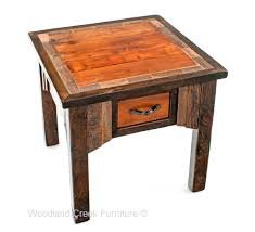 Reclaimed Wood Side Table Side Table Artistic Black Concave Metal Top Side Table With