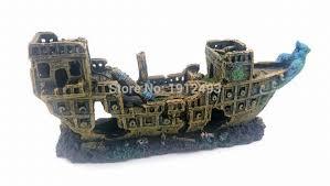 ornament big size pirate sunk ship shipwreck boat fish tank