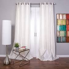 White Faux Silk Curtains Lambrequin Faux Silk Curtain Panel White Size 54 X 96 Ebay