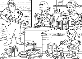 coloring santa claus elves build toys picture