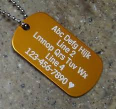 Personalized Dog Tag Necklaces Personalized Dog Tag Necklace Vertical Wording Orange Custom