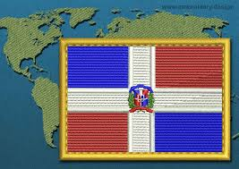 Dominican Republic Flag Dominican Republic Rectangle Flag Embroidery Design With A Gold Border
