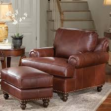 Ottoman Brothers Leather Chair Ottoman With Nailhead Trim By Smith Brothers