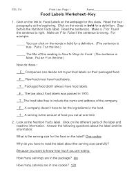 food worksheets food labels worksheet doc collection of solutions