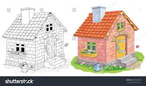 cute house made bricks three little stock illustration 607199894