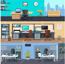 Designer Computer Table Set Of Modern Office Interior With Designer Desktop In Flat Design