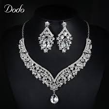 white gold crystal necklace images Buy exaggerated wedding jewelry sets bridal white jpg