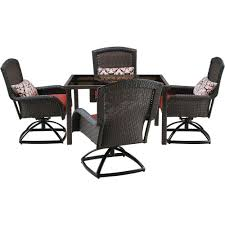 Hanover Patio Furniture Hanover Strathmere 5 Piece All Weather Wicker Square Patio Dining