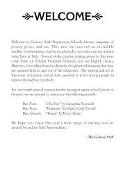 welcome to genesis york prep school s literary magazine of poetry p