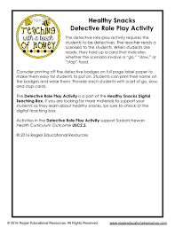 snacks detective role play activity