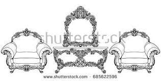 baroque royal style furniture rich sofa stock vector 384695212