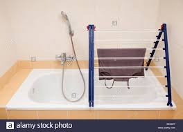 foldable clothes drying rack bath stock photo royalty