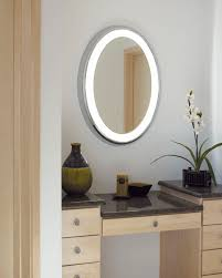 bed bath bathroom mirror frames with lighted oval mirror