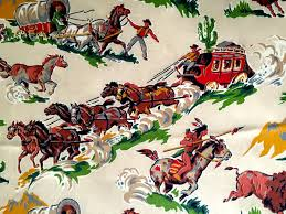 spectacular american wild west barkcloth 50s novelty fabric