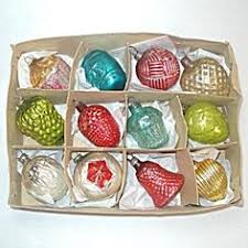 box antique german feather tree glass ornaments