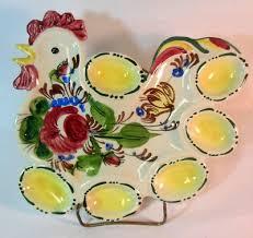 devilled egg plate vtg italian majolica pottery deviled egg plate serving platter hen