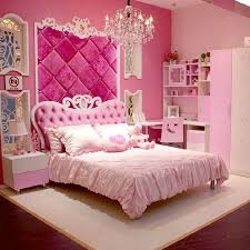 Castle Bedroom Furniture with European Style Mdf Pink Princess Girl 4pcs Bedroom Furniture
