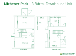 floorplan with dimensions for three bedroom townhouse units in