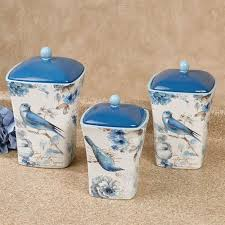 kitchen canisters blue indigold blue bird and floral kitchen canister set