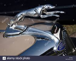 the greyhound ornament and emblem on the nose of a vintage