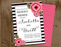 black and white stripe peony printable wedding shower invitation