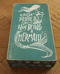 kinda pissed about not being a mermaid wood box teal sign beach