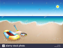 Beach Shovel An Illustration Of Yellow Inflatable Boat Scuba Mask And Beach