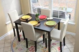 Dining Table 4 Chairs Set Elegant Ivory Parson Chair Dining Table Sets With Ivory Leather 4