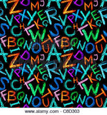 seamless pattern crayon alphabet over white background stock