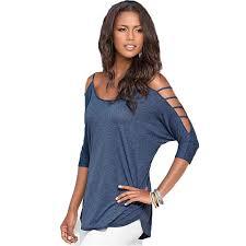 shoulder cut out blouse cutout design sleeve neck t shirt casual