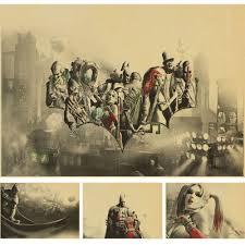 retro batman kraft paper retro poster 3d movie wall sticker