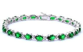 diamond emerald bracelet images Oxford diamond co 925 sterling silver 7 25 quot oval cut green jpg