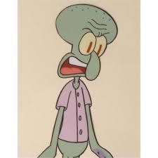 pink shirt squidward spongebob cel animation original